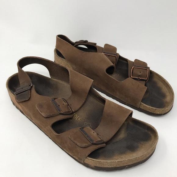 Birkenstock Men Milano Brown Leather Sandals 44